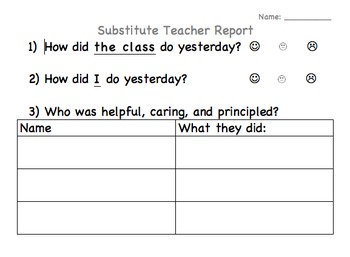 Student Reflection Page for Substitute