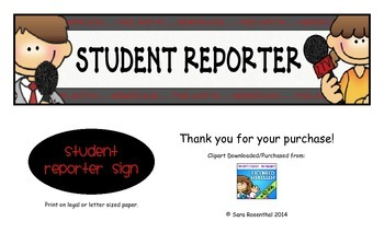 Student Reporter Sign