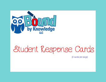 Student Response Cards - 6/page