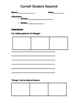 Student Resume Form