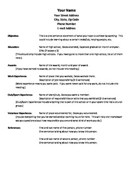 Student Resume Template and Example