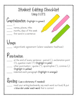 Student Revising & Editing Checklist