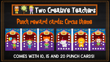 Student Reward Punch card: Circus theme