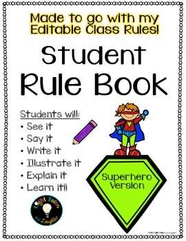 Student Rule Book - Superhero Theme