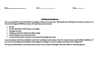 Student Selected Reading Log