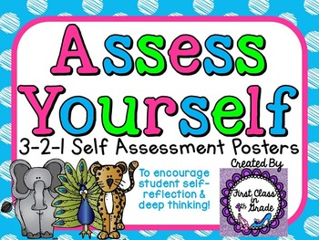 Student Self-Assessment Posters 3-2-1 Scale (Colored Polka Dot)