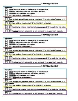 Student Self-Check Writing Checklists