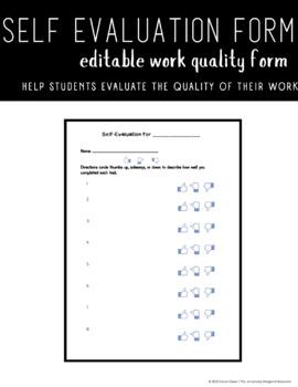 Student Self-Eval Sheet