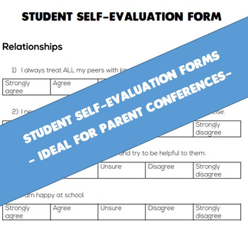 Student Self-Evaluation Form (Ideal for Parent-Teacher Con