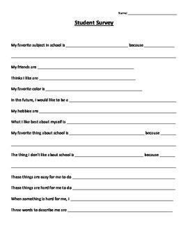 Student Self Reflection & Outlook Survey