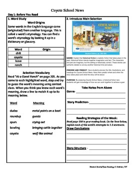 Student Sheets/Close Reading Unit 2 Week 2 Coyote School News