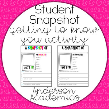 Student Snapshot - Getting to Know You FREEBIE