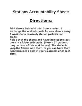 Student Station Accountability Sheet