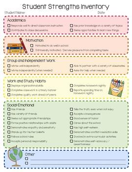 Student Strengths Inventory Checklist