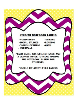 Student Subject Notebook Labels