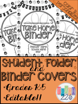 Student Take Home Binder Covers - Paw Prints