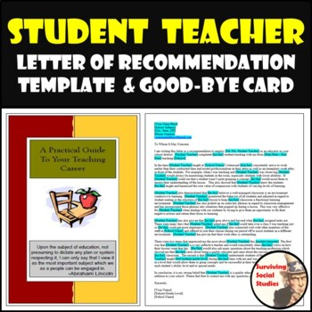 Student Teacher Card & Letter of Recommendation Template [