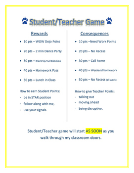 Student/Teacher Game Rewards and Consequences