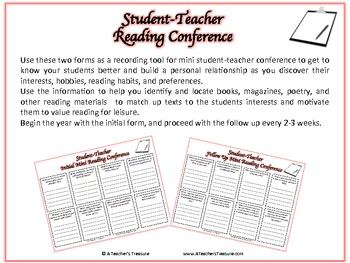 Student-Teacher Mini Reading Conference
