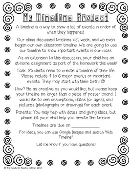 Student Timeline Project Flyer: Great for Back-to-School!