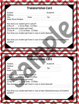 Student Transportation Card - Red Chevron