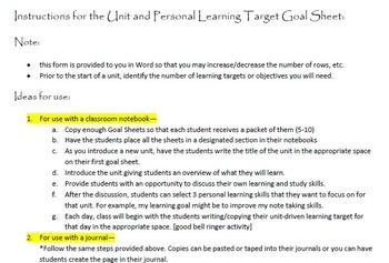 Student Unit Goal Sheet