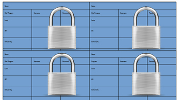 Student Username and Password tags