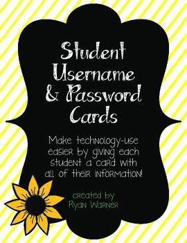 Student Username/Password Cards for UPPER elementary