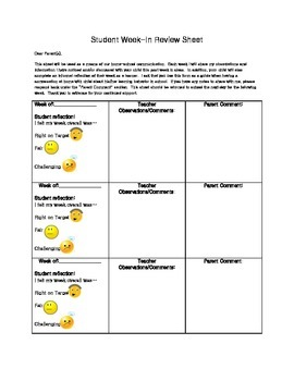 Student Week-In Review Form