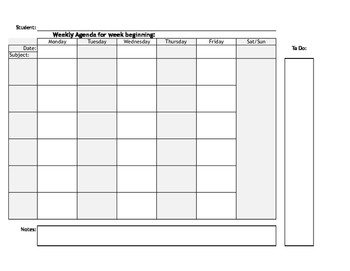 Student Weekly Agenda - 6 subjects