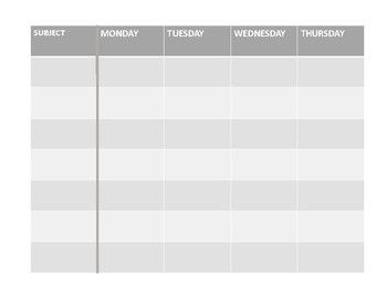 Student Monday-Thursday Weekly Planning Page