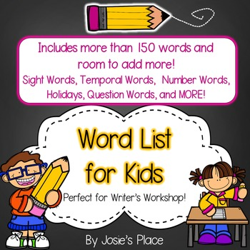 Word List for Writing Workshop- Alphabetized list of sight