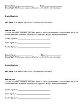 Student Work Completion Contract