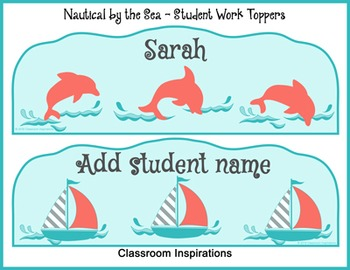 Student Work Display Toppers - Editable - Nautical by the