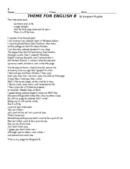 Student Worksheet for Langston Hughes' Theme for English B