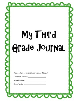 Student and Parent Third Grade Writing Journal