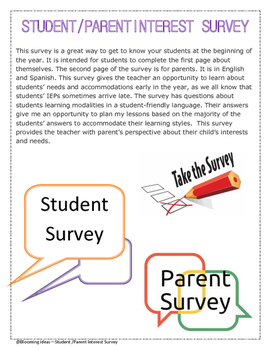 Student and Parent first day of school survey
