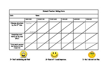 Student and Teacher Behavior Rating Form