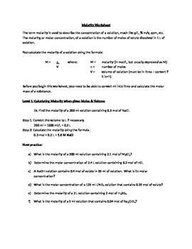 Student-centered Molarity Worksheet