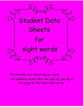 Student  data sheet for Sight Words