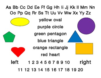 Back to school Student desk plate: alphabet, shapes, colou