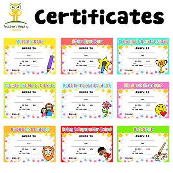 Student of the Week Award Certificates (32 different awards)