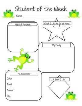 Student of the Week Frog Themed