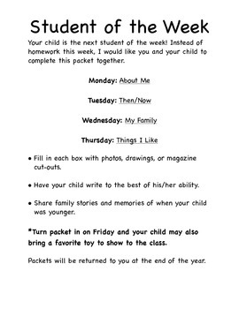 Student of the Week Packet PK-2