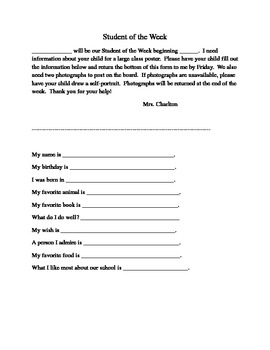 Student of the Week Sheet