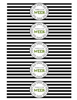 """""""Student of the Week"""" Water Bottle Labels (green)"""