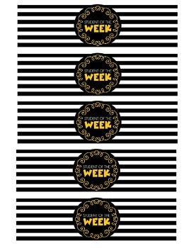 """""""Student of the Week"""" Water Bottle Labels (yellow)"""
