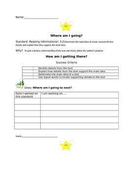Student self assessment Grade 3 Reading