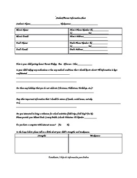 Student/Parent Information Sheet English and Spanish