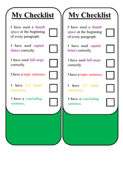 Students Paragraphing Checklist